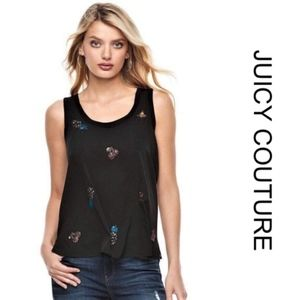 NWT [juicy couture] Black Embellished Tank Large